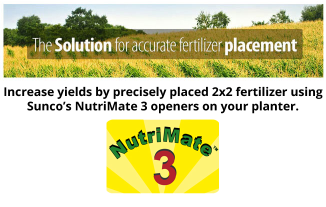Nutri Mate 3 - Increase yields by precisely placed 2x2 fertilizer using Sunco's NutriMate 3 openers on your planter.